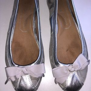 Woman's coach silver Sarah slip on flats size 8